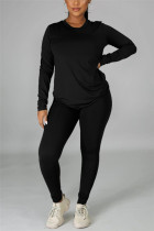 Black Casual Solid Basic O Neck Long Sleeve Two Pieces