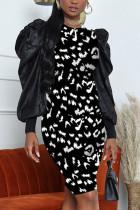 Black White Fashion Sexy Print Split Joint O Neck A Line Dresses