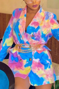 Multi-color Casual Print Turn-back Collar Outerwear