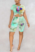 Green and yellow Polyester Fashion adult England Ma'am Print Tie Dye Two Piece Suits pencil Short Sleeve Two Pieces