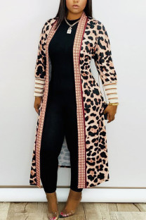 Leopard print Daily Polyester Twilled Satin Print Cardigan O Neck Outerwear