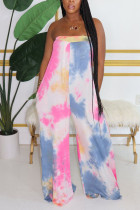 Blue Fashion Sexy Tie-dyed Cotton Sleeveless Wrapped Jumpsuits