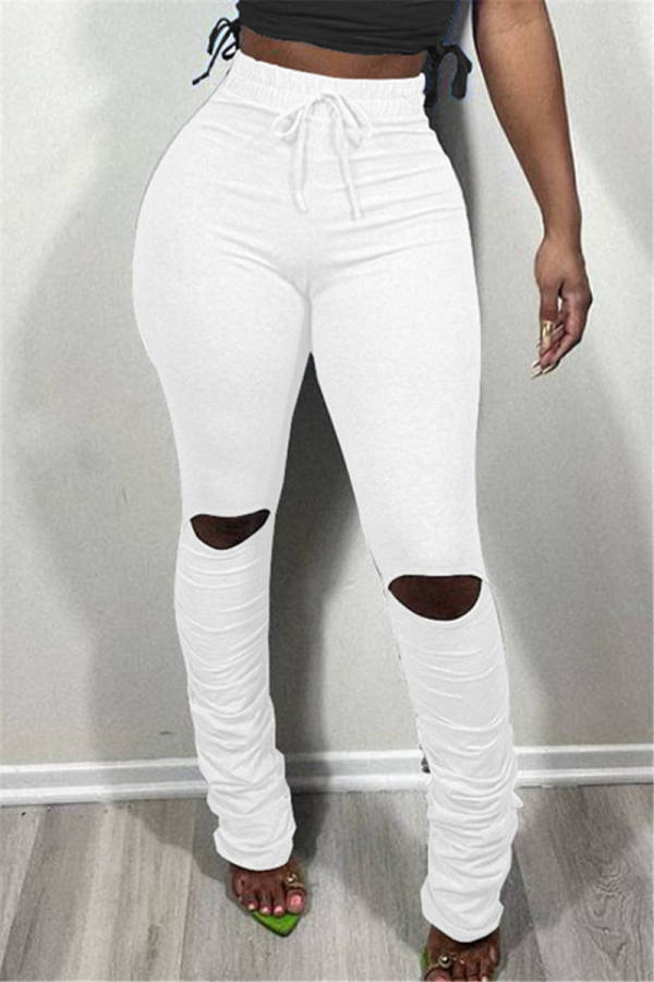 White Fashion Casual Solid Ripped Fold Regular Mid Waist Trousers