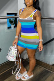 Blue street Striped Milk. Short Sleeve Slip Jumpsuits