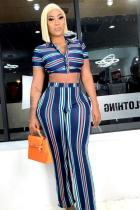 Blue Polyester Sexy Fashion crop top Striped Two Piece Suits Slim fit Button Straight Short Sleeve Two-p