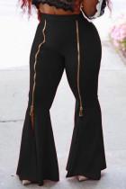 Black Fashion Casual Adult Milk Fiber Solid Split Joint Loose Bottoms
