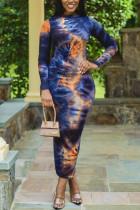 Dark Blue Fashion Casual Elegant Polyester Twilled Satin Print O Neck Pencil Skirt Plus Size