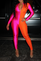 Rose Red Sexy Solid Split Joint Zipper Collar Skinny Jumpsuits