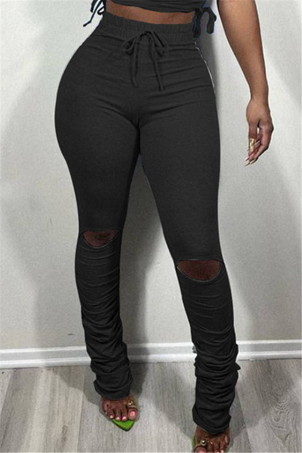 Black Fashion Casual Solid Ripped Fold Regular Mid Waist Trousers
