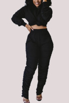 Black Fashion Casual Adult Polyester Solid Fold O Neck Long Sleeve Pile Up Sleeves Regular Two Pieces