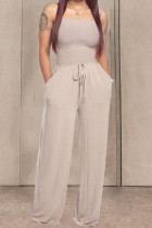 Apricot Fashion Casual Solid Draped Cotton Sleeveless Wrapped Jumpsuits