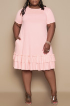 Pink Fashion Casual Solid Flounce O Neck Short Sleeve Dress