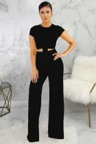 Black Polyester Fashion Sexy Bandage Patchwork Solid Loose Short Sleeve Two-piece Pants Set