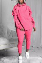 Pink Fashion Sexy Adult Polyester Solid Split Joint Hooded Collar Long Sleeve Lantern Sleeve Regular Two Pieces