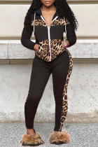 Black Fashion Casual Print Split Joint Zipper Collar Long Sleeve Two Pieces