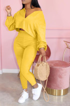 Yellow Polyester Celebrities zipper Solid Fluorescent Plus Size