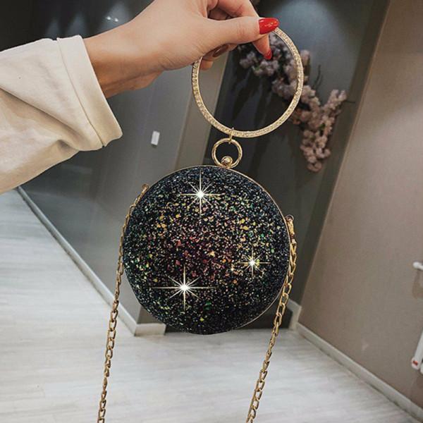 Black Fashion Patchwork Round Crossbody Bag