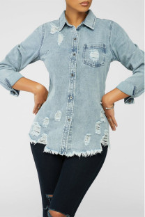 Baby Blue Casual Solid Buttons Turndown Collar Long Sleeve Skinny Denim