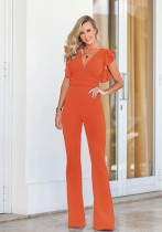 Orange Polyester zipper Solid Fashion sexy Jumpsuits & Rompers