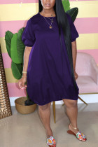 purple Casual Bubble sleeves Short Sleeves O neck Lantern skirt Knee-Length Solid Dresses