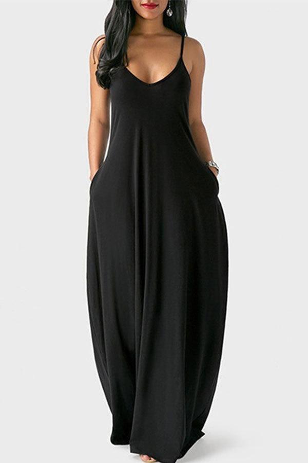 Black Milk. Fashion Sexy Casual Spaghetti Strap Sleeveless Slip Princess Dress Floor-Length Solid Dresses