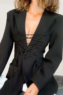 Black Street Polyester Solid Split Joint Frenulum Turn-back Collar Outerwear