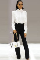 White Polyester O Neck Long Sleeve ruffle Solid Patchwork Blouses & Shirts