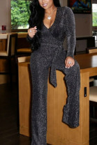 Silver Fashion Casual Polyester Solid Split Joint V Neck Straight Jumpsuits