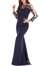 Blue Fashion Long Sleeves O neck Slim Dress Floor-Length Patchwork