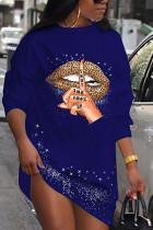 Blue Casual Polyester Print O Neck Long Sleeve Mini Pencil Skirt Dresses