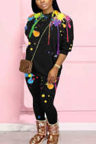 Black Fashion Casual Adult Polyester Print Split Joint O Neck Long Sleeve Regular Sleeve Regular Two Pieces