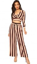 Black Striped Mid Waist Two-piece suit