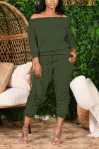 Army Green Fashion Casual Adult Solid Split Joint Bateau Neck Long Sleeve Off The Shoulder Regular Two Pieces