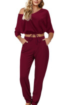 Wine Red Sexy Casual Polyester Solid V Neck Long Sleeve Regular Sleeve Short Two Pieces