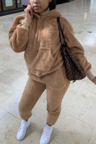 Coffee Fashion Sexy Adult Polyester Solid Split Joint Hooded Collar Long Sleeve Regular Sleeve Regular Two Pieces