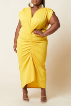 Yellow Casual Solid Split Joint V Neck Plus Size Dresses