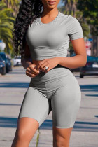 Grey Casual Solid Basic O Neck Short Sleeve Two Pieces