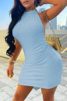 Sky Blue Sexy Solid Split Joint Halter Pencil Skirt Dresses