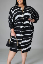 Black Casual Striped Print Split Joint Turndown Collar Shirt Dress Plus Size Dresses