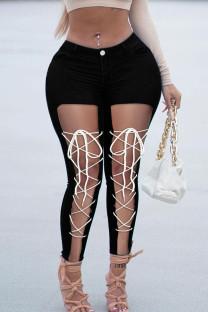 Black Street Solid Hollowed Out Split Joint Frenulum High Waist Skinny Denim Jeans