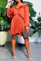 Orange Sexy Solid Flounce Off the Shoulder Pleated Dresses
