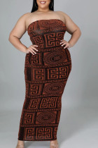 Red Sexy Print Split Joint Strapless Pencil Skirt Plus Size Dresses