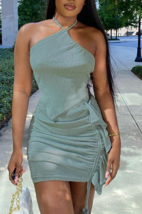 Green Sexy Solid Hollowed Out Split Joint Flounce Fold Asymmetrical Halter Sleeveless Two Pieces