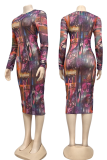 Red Sexy Print Split Joint Pencil Skirt Dresses