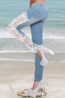 Blue Casual Solid Lace Mid Waist Skinny Denim Jeans