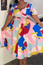 Colour Casual Print Split Joint V Neck Cake Skirt Plus Size Dresses