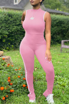 Pink Casual Sportswear Solid Basic O Neck Skinny Jumpsuits