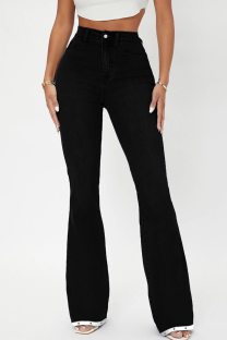 Black Casual Solid Split Joint Mid Waist Boot Cut Denim Jeans
