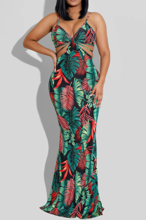 Black Sexy Solid Hollowed Out Spaghetti Strap Trumpet Mermaid Dresses