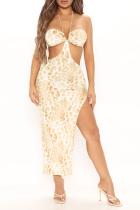Leopard Print Sexy Leopard Hollowed Out Halter Irregular Dress Dresses